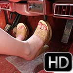 Jamie Lynn Driving the Jeep in Tan Wooden Sandals