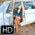 Paige Erin Turner Cranking the Sick Volvo in Flat OTK Boots