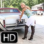 Brooke Caddy Gas Run in White Pants & Brown OTK Boots