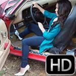 Mari Cranks & Revs the Camaro in White Pumps