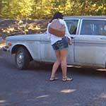 Damara Cranking the Volvo in Thong Sandals – #657
