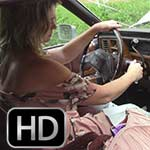 Rockell in White Thigh Boots & Pink Dress in the Caddy, 1 of 2