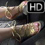 Cassandra Cranks & Revs the Bug in Gold Strappy Flat Sandals