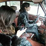 Hana & Mari Can't Start the Jeep in Boots & Leather