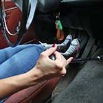 Jane Domino Cranks & Drives the Volvo in Knee-High Converse