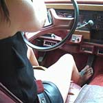 Elizabeth Driving the Jeep in Leather Shorts & Thong Sandals