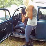 Brooke & Mari Crank & Rev the Bug in Cowgirl Boots