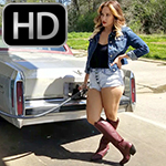 Jane Running Errands in the Cadillac in Knee High Boots