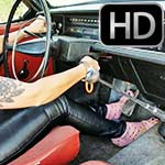 Jane Domino Cranking Up the Volvo in Pink Strappy Heels