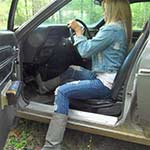 Riley Starting Hubby's Old Coronet in Gray Boots, 2 of 2
