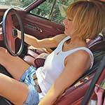 Ginger Starts Up the Old Jeep in Frye Boots & Shorts
