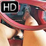 Jane Domino Cranks '83 Mustang in Birkenstocks w/Red Toes