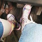 Jane Domino Starts, Revs & Drives the Camaro in Knee High Converse