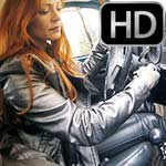 Vivian Crankin & Drivin the VW Bug in Leather, Boots & Gloves