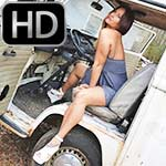 Jane Domino Hard Revving the Bus in White Wedges
