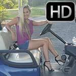 Jewels Driving a Golf Cart in Black Leather Strap Heels