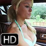 Brooke Driving the Caddy in Bikini, Nylons & Sneakers