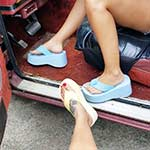Jane & Jewels Crank the Jeep & Volvo in Flip Flops