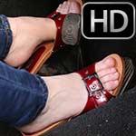 Cassandra Crank & Rev the Bug in Red Strap Wooden Sandals