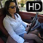 Damara Driving the Volvo  White Button Down & Shorts