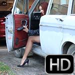 Vivian Ireene Pierce Backfire Revving the Volvo in Leather