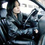Hana Struggling in the Coronet in Leather & Platform Stilettos