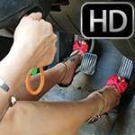Jane & Jewels Crank & Rev the Volvo in Cutoff Shorts & Heels