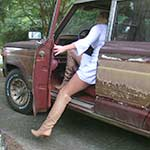 Britney Cranking & Stalling in the Jeep Tan OTK Vintage Boots