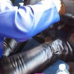 Brandi Leather Pants, Jacket & Boots Pumps the Monte, 1 of 2