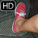 Britney Bordeaux Revs Her Rental Car in Red Keds (Feet Only)
