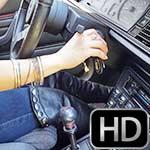 Vivian Ireene Pierce Cranking the Renault in Black OTK Boots