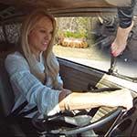 Brooke Bus Driving Dress Shirt, Leather Pants & Bare Feet