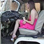 Kristen Revs the Bus in Platform Stiletto Sandals
