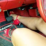 Jane Domino Trying to Start Moms Car in Red Stilettos