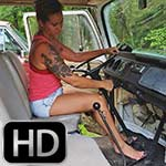 Jane Domino Revs the Bus in Pink Tank & Bare Feet