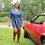 Vassanta Revs the Camaro in Brown Stiletto Boots