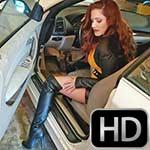 Vivian Ireene Pierce Revving the BMW in OTK Boots & Leather