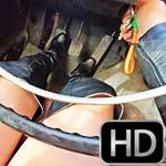 Vivian Ireene Pierce Drains Volvo in Yellow Leather Skirt & Boots