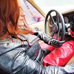 Vivian Red Leather Chaps Cranking & Stuck in Leather in the Z28