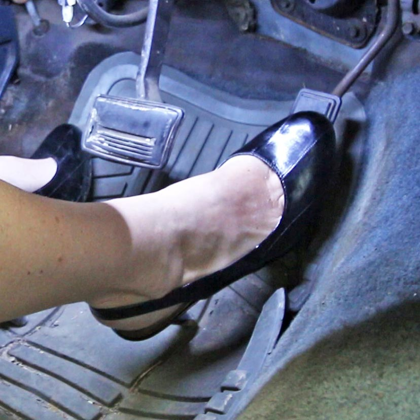 Samantha Ford Weak Driving the Chevy in Black Slingbacks