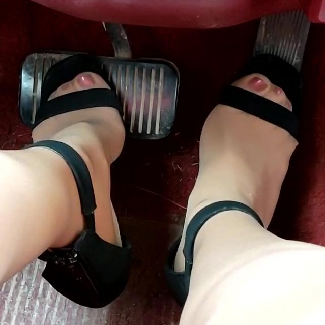 Vivian Jeep Revving in Sheer Hose, Satin Blouse & Strappy Stiletto Sandals