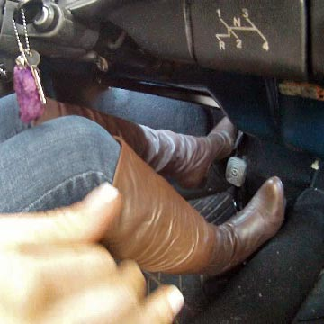 Tinsley Cranks & Drives the Bug in Brown Leather OTK Boots