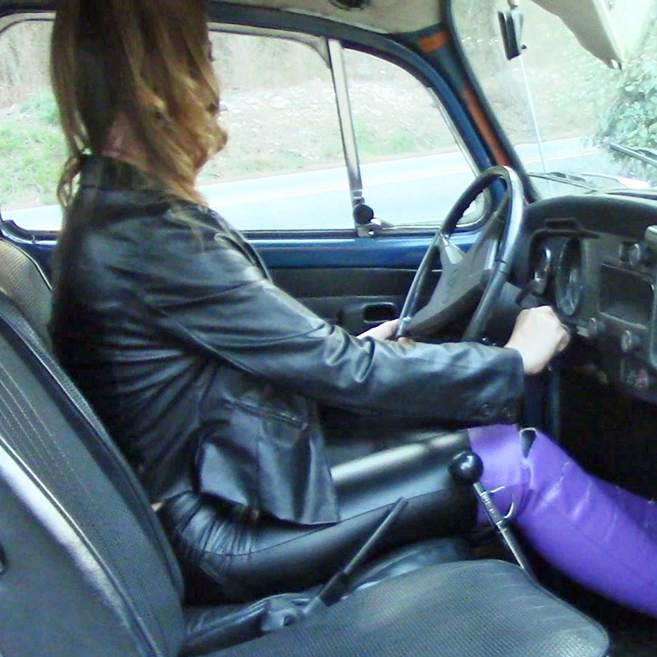 Cassandra Cranking Up the Bug in Black Leather & Purple OTK Peep-Toe Boots