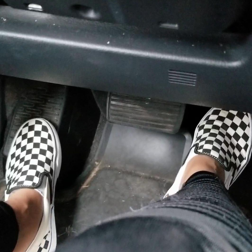 Jane Domino Driving Her Honda Truck in Black & White Checkered Vans