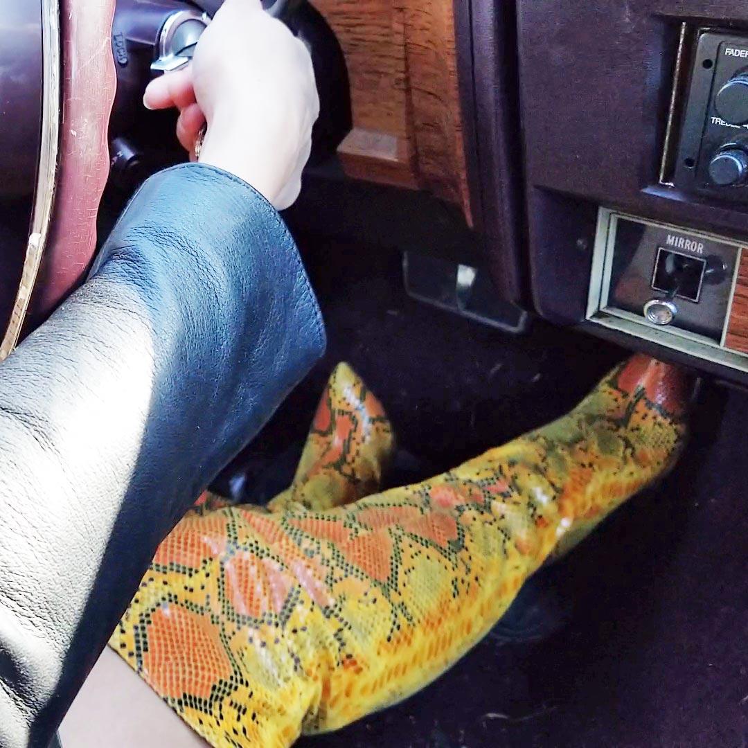 Jane Domino Stubborn Caddy Crankin' Fringe Leather & Snake OTK Boots