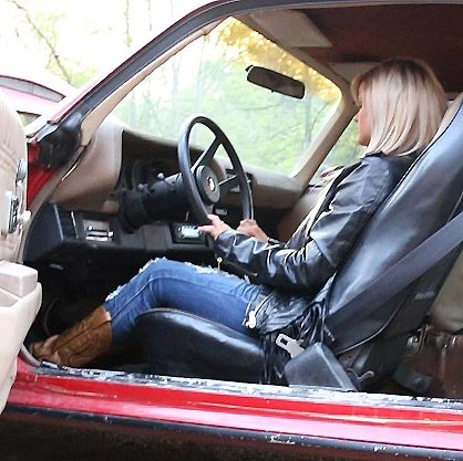 Riley Cranking & Revving the '77 Z28 in Black Leather Jacket & Black/Brown Cowgirl Boots