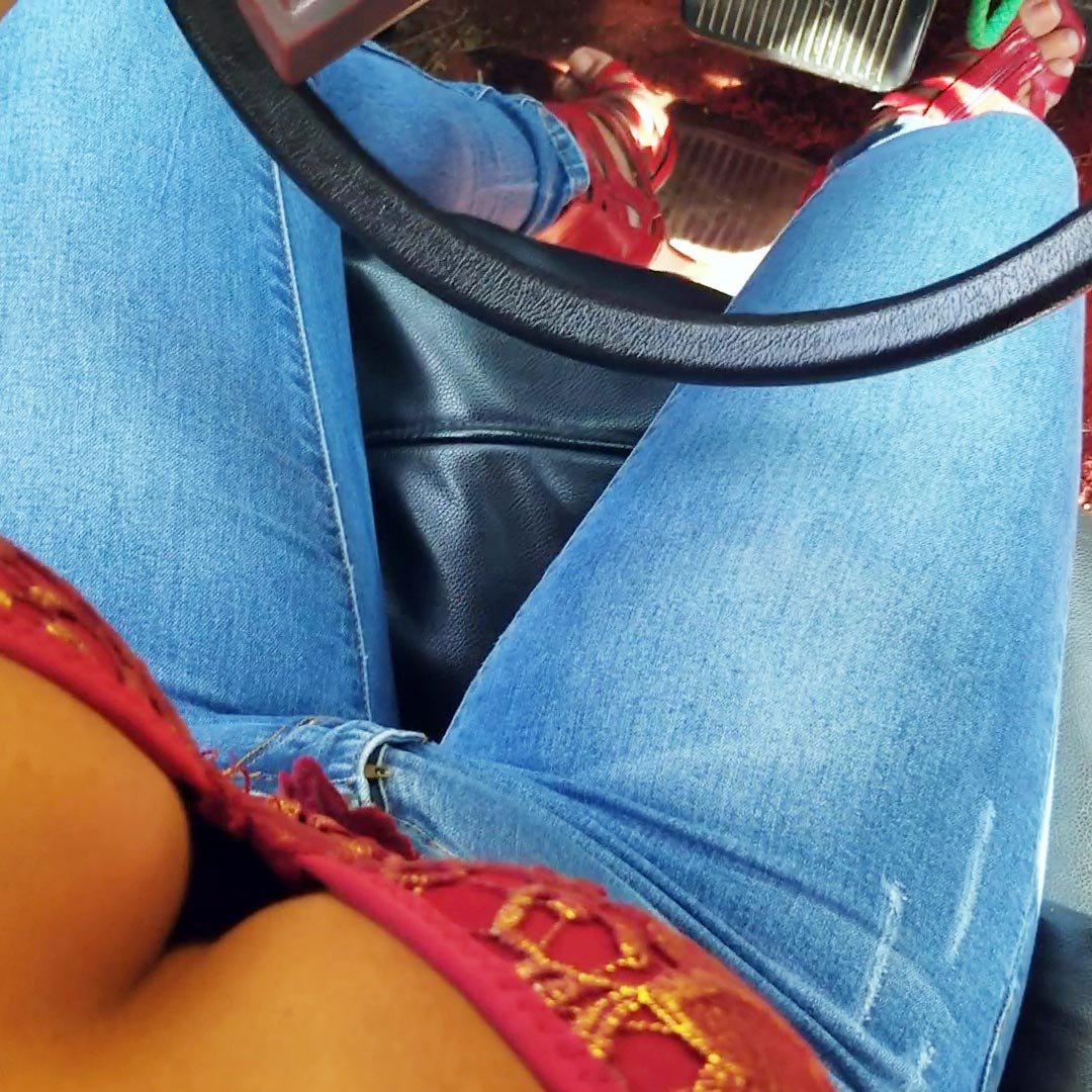 Jane Starts & Revs the Jeep Red Strappy Peep Toe Sandals POV – Quickie