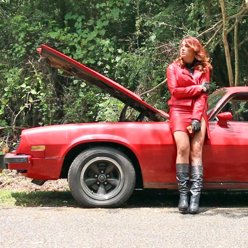 Dirty Diana's Z28 Broke Down in Red Leather Suit & Boots, 1 of 2