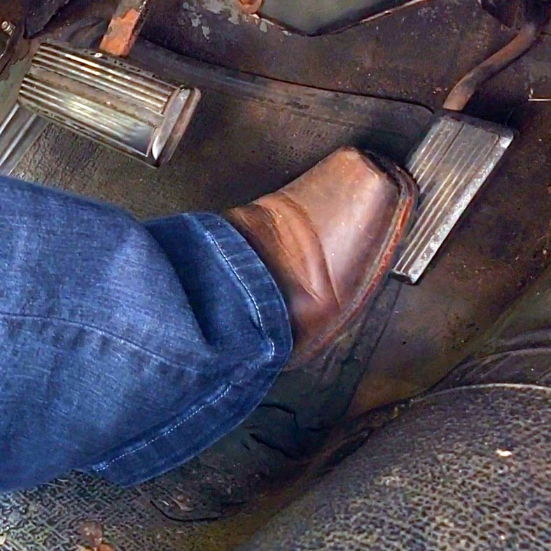 Ginger Frye Boots Trying to Start the Cadillac