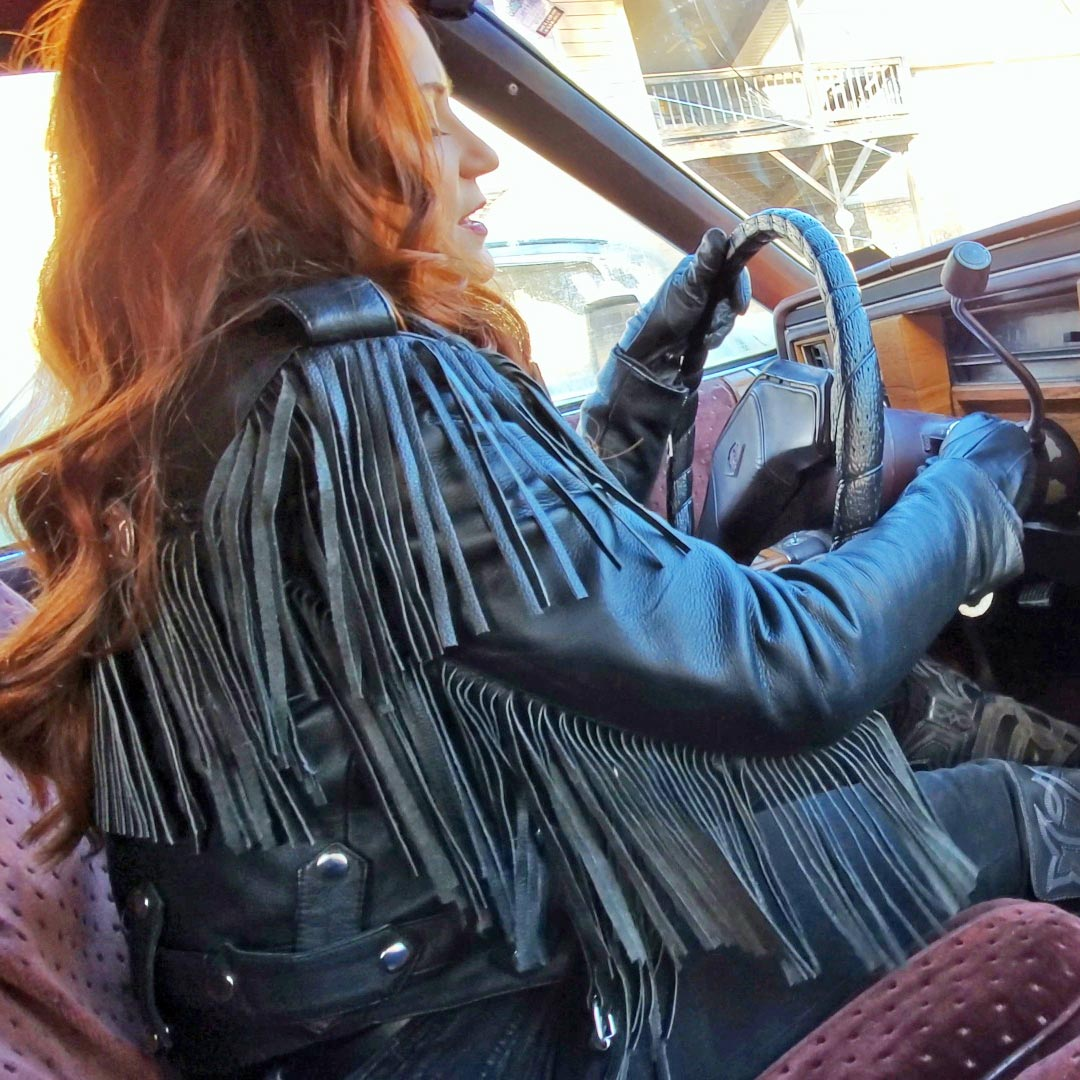 Vivian Ireene Pierce Cold Start & Rev the Caddy Fringe Leather, Wrangler's & Frye Boots